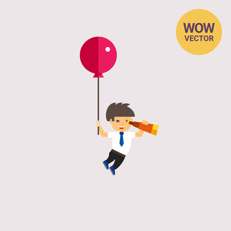 Illustration of man flying with balloon and looking through spyglass. Flying, spying, searching for business ideas. Searching concept. Can be used for topics like business ideas, search, flight