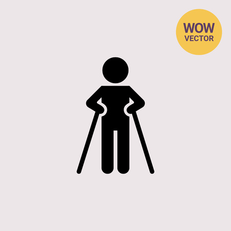 Icon of man silhouette walking with crutches Illustration