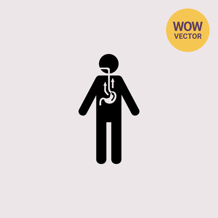 nauseous: Man Suffering from Reflux Icon Illustration