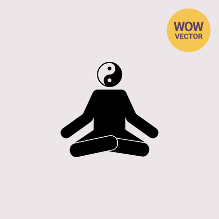 man meditating: Meditating Man in Lotus Position Icon Illustration