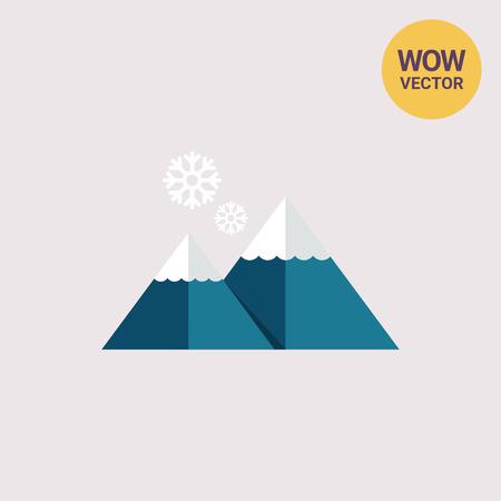 Mountains and snowflakes Illustration