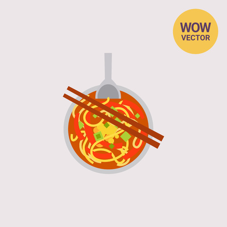 Icon of noodle soup Nam ngiao. Spicy food, chopsticks, tangy flavor. Thai food concept. Can be used for topics like restaurant, gourmet or menu