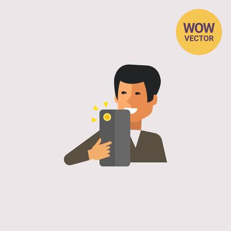 Man making selfie Illustration