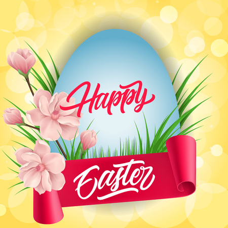 Happy Easter Lettering on Egg and Ribbon