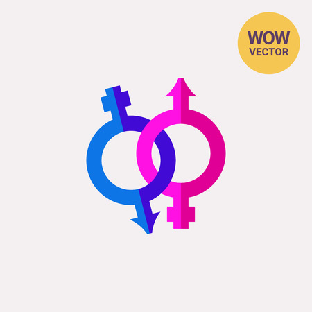 Pink and blue icon of all gender restroom. LGBT, diversity, tolerance. Sexual orientation concept. Can be used for topics like society, discrimination, hygiene Illustration