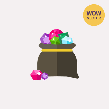 Vector icon of bag with colorful gems. Treasure, precious stones, gemstones. Gems concept. Can be used for topics like luxury, wealth, jewelry Illustration