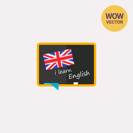 polyglot: Blackboard with flag of England icon Illustration