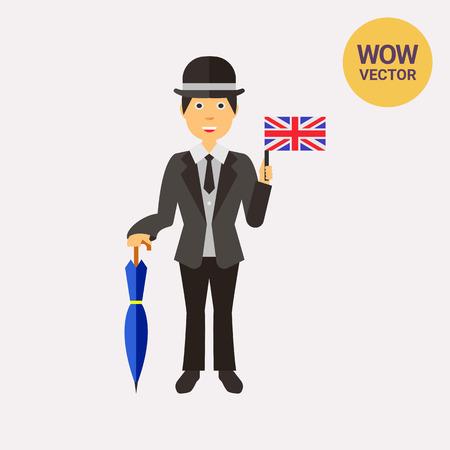 englishman: Cheerful Englishman in suit icon