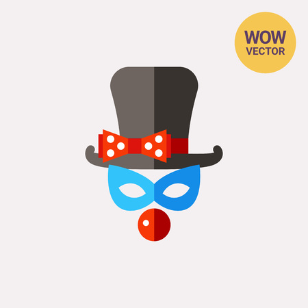 comedian: Clown mask with top hat and nose icon Illustration