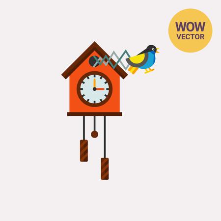 Cuckoo Clock Vector Icon Illustration