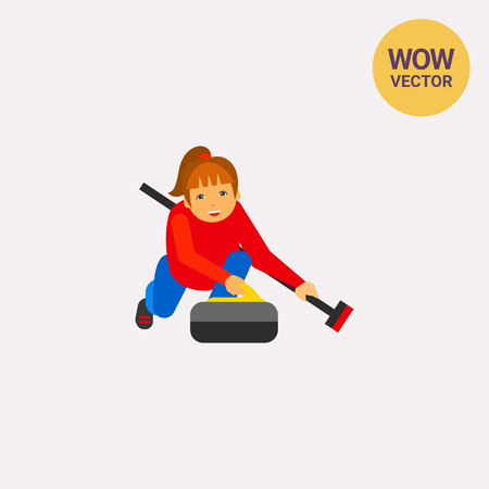 sportwoman: Curling Sport Vector Icon Illustration