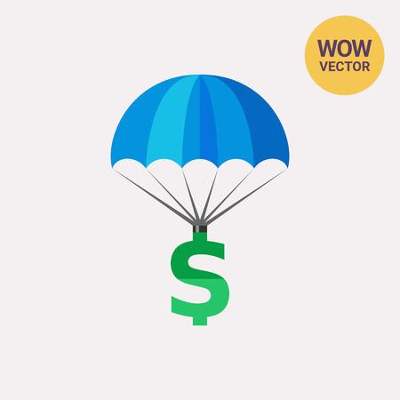 Dollar Sign Parachuting Icon