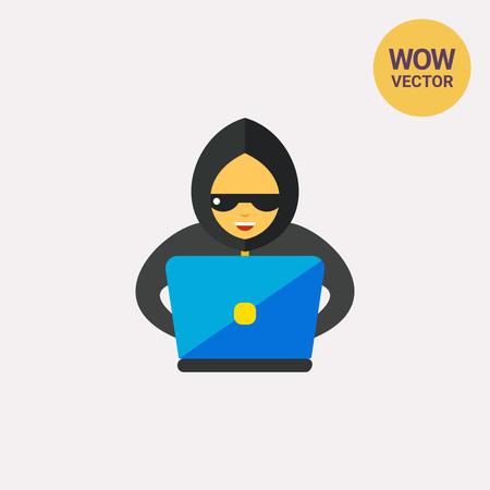 Hacker at computer vector icon