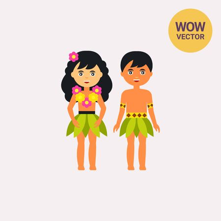 polynesian ethnicity: Hawaiian male and female vector icon Illustration