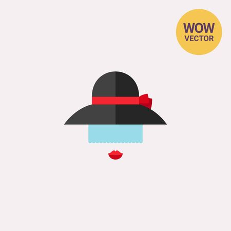 Lady in black hat icon