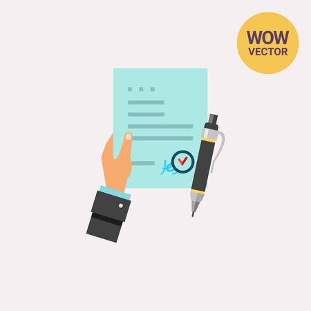 signing: Man Hand Holding Contract Agreement Icon Illustration