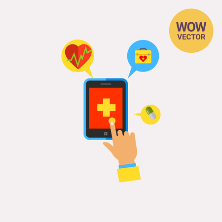 mobile application: Mobile Phone Health Application Icon Illustration