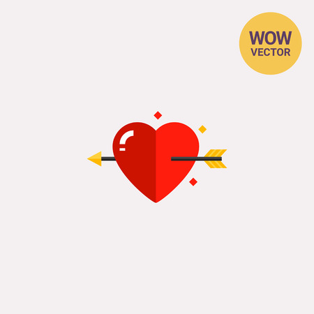 Multicolored vector icon of heart with love arrow