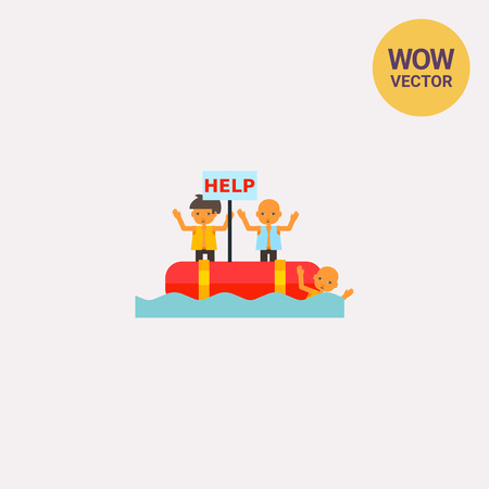 Refugees in Boat Asking for Help Icon