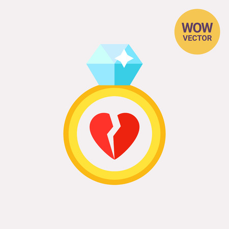 Ring with broken heart Icon