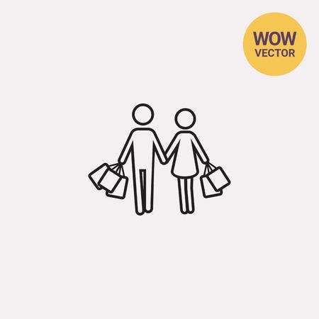 mujer en el supermercado: Icono de compras juntos Vectores
