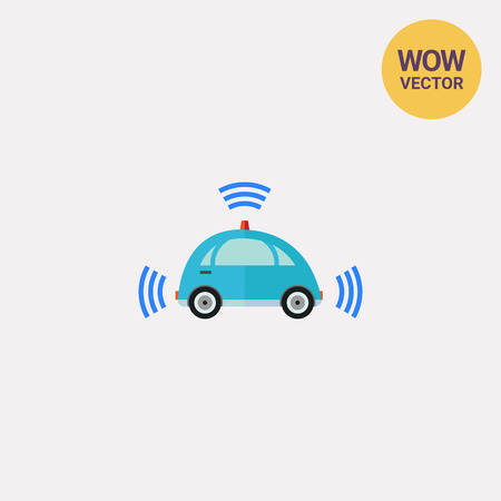 inventiveness: Self-driving Car with Signal Signs Icon