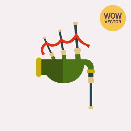 bagpipe: Scottish bagpipe icon on plain background Illustration