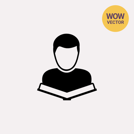 Student with Book Icon Illustration