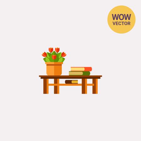 Table, flower and books on plain background Illustration