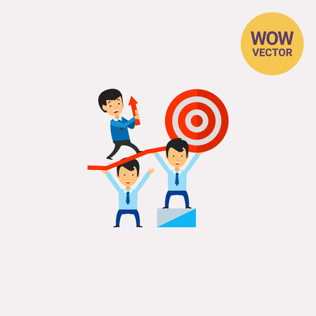 Teamwork Leading to Success Icon Illustration
