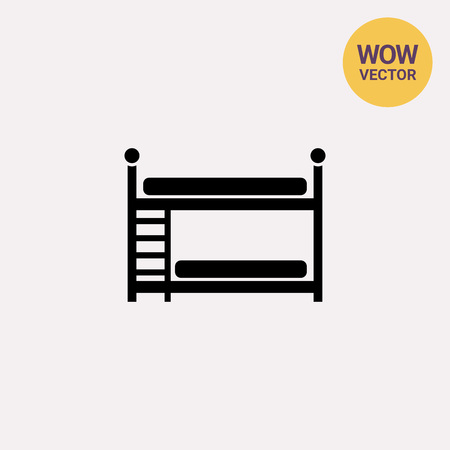 bunk bed: Two Bunk Bed Icon Illustration