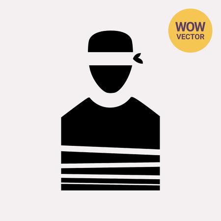 Tied Hostage with Blindfold Icon Ilustração