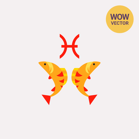 Pisces sign icon on plain background