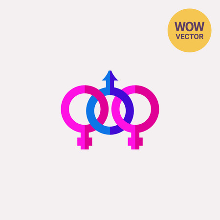 Pink and blue bisexual icon Illustration