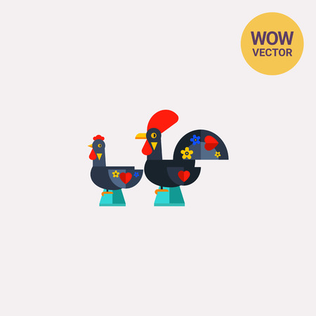 Russian rooster and chicken