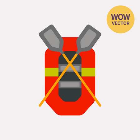 Rubber Boat with Oars Vector Icon Illustration