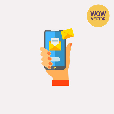 smartphone hand: Smartphone with Emails in Hand Vector Icon