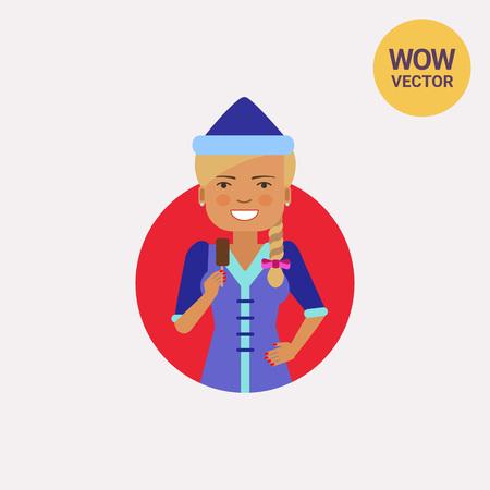 Smiling woman holding choc-ice