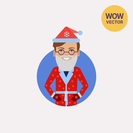 mitten: Smiling man in Santa costume Illustration