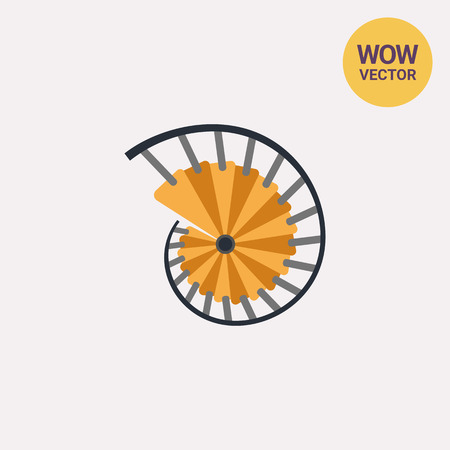 helical: Spiral Staircase Vector Icon