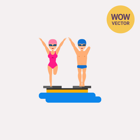 Swimmers with amputated limbs flat icon