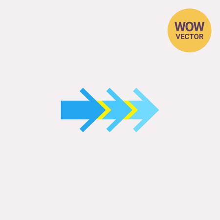 consecutive: Three Consecutive Arrows Icon Illustration