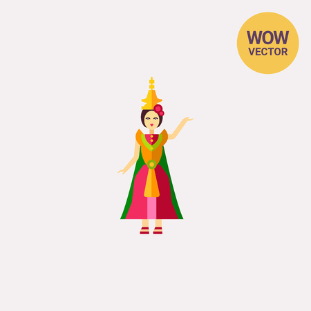 Thai dancer in colorful dress icon Illustration