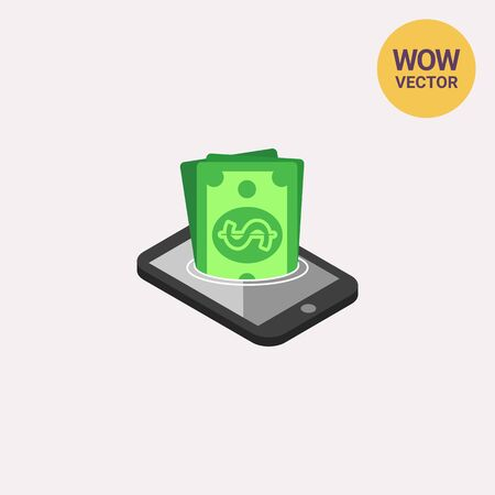 Icon of dollar banknotes sinking in smartphone screen