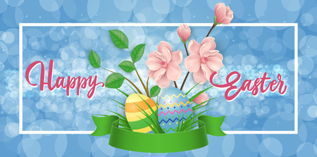 Happy Easter text with decorative elements