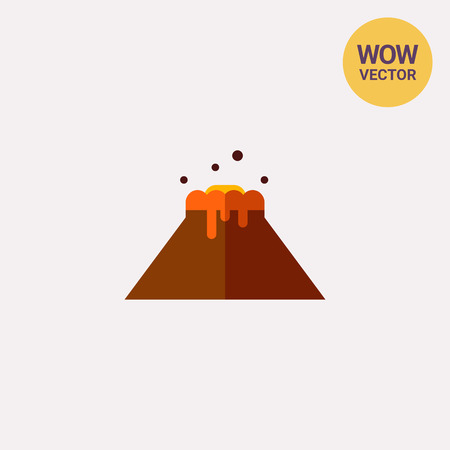 Volcano flat icon Illustration
