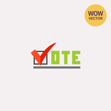 presidential: Vote Inscription with Tick Sign Icon Illustration