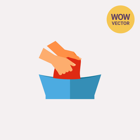 Washing Clothes in Basin by Hands Icon