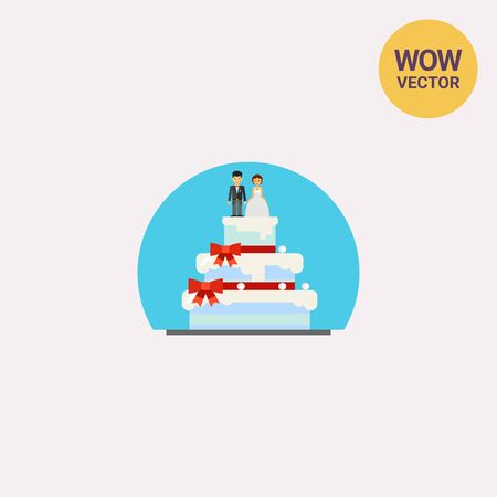 wedding cake: Wedding Cake with Figurines Icon Illustration