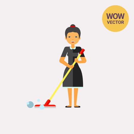 Woman Cleaning Floor with Mop Icon